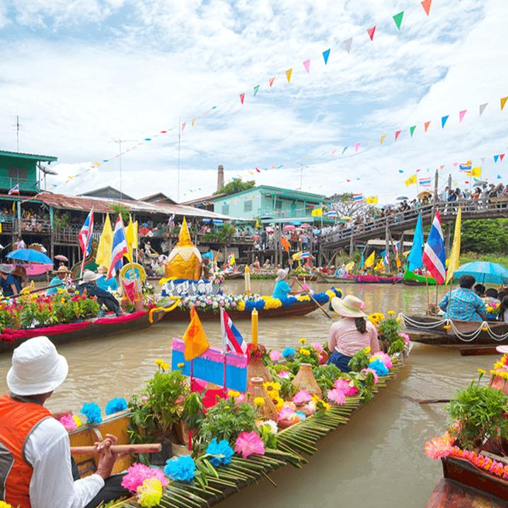 泰国丹嫩沙多水上市场,唐人街探案的著名取景地