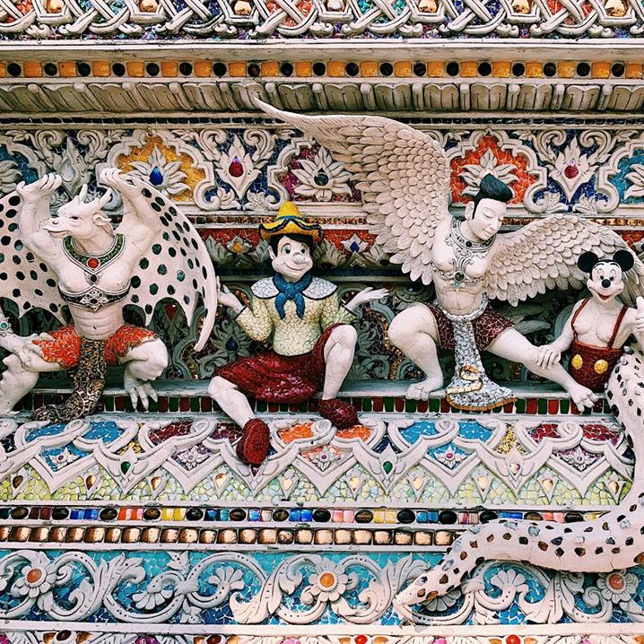 泰国贝克汉姆寺庙Wat Pariwat,原来还有成龙、皮卡丘、美队...